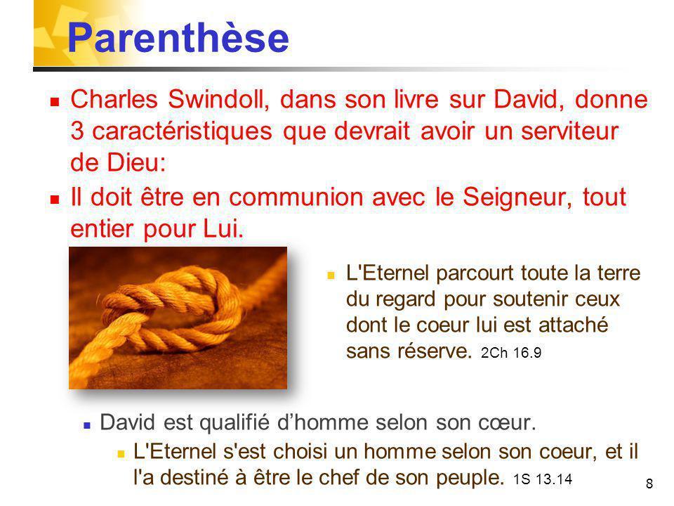 Parenthèse Charles Swindoll, dans son livre sur David, donne 3 caractéristiques que devrait avoir un serviteur de Dieu: Il doit être en communion avec