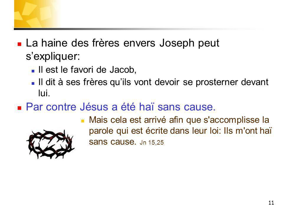 11 La haine des frères envers Joseph peut sexpliquer: Il est le favori de Jacob, Il dit à ses frères quils vont devoir se prosterner devant lui.