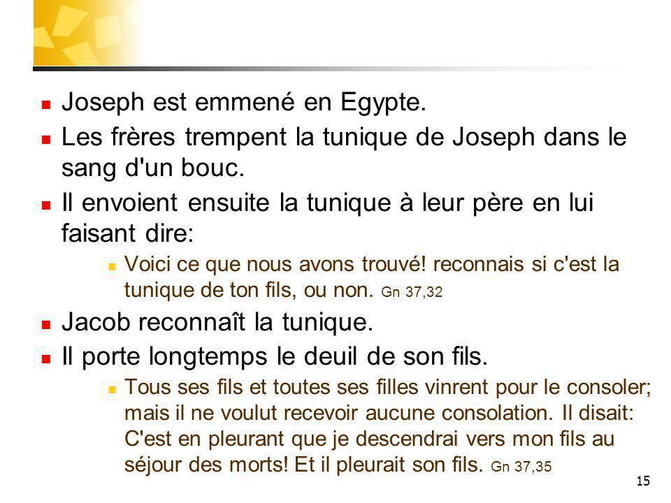 15 Joseph est emmené en Egypte.Les frères trempent la tunique de Joseph dans le sang d un bouc.