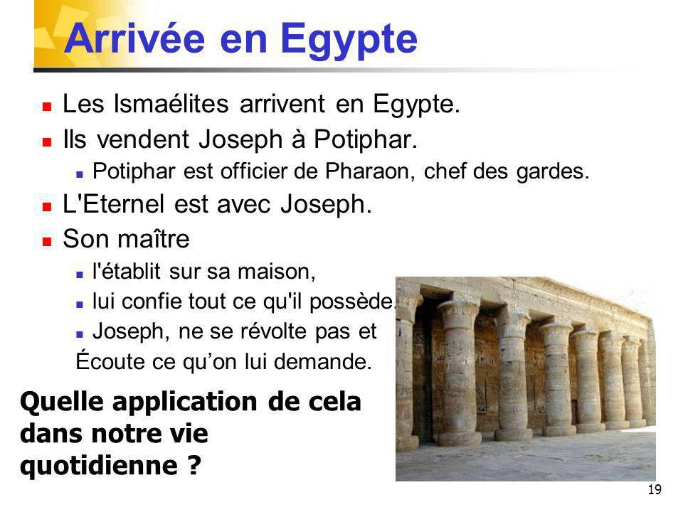 19 Arrivée en Egypte Les Ismaélites arrivent en Egypte.
