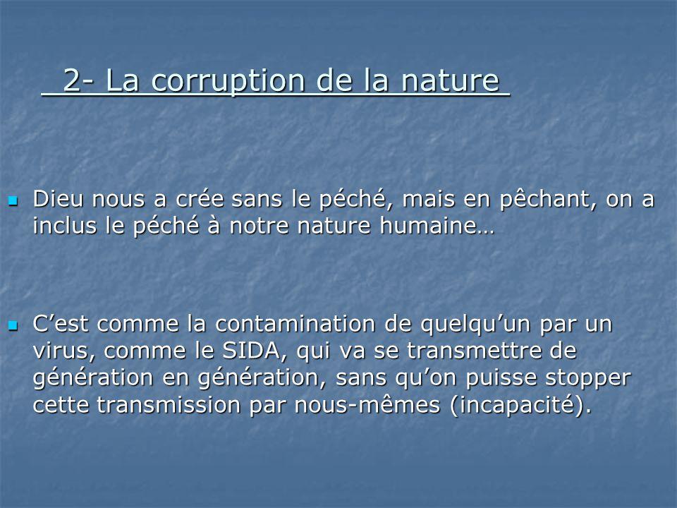 2- La corruption de la nature 2- La corruption de la nature Dieu nous a crée sans le péché, mais en pêchant, on a inclus le péché à notre nature humai