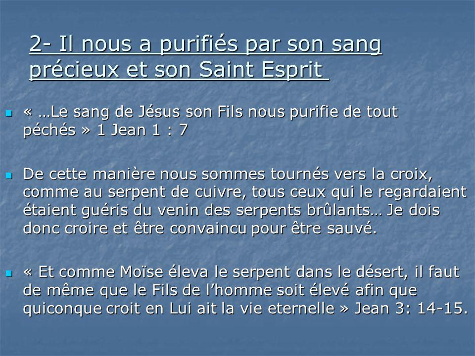2- Il nous a purifiés par son sang précieux et son Saint Esprit 2- Il nous a purifiés par son sang précieux et son Saint Esprit « …Le sang de Jésus so