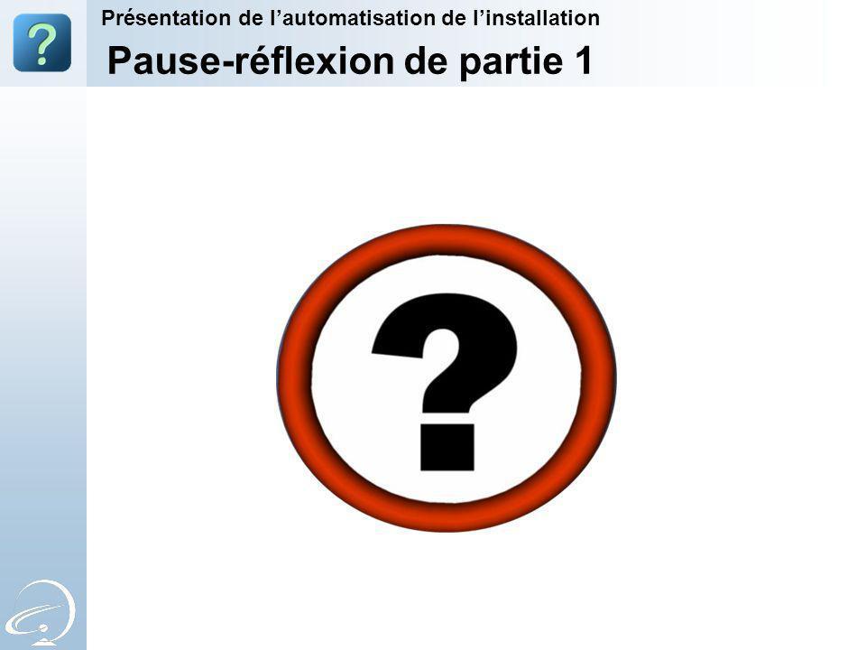 Pause-réflexion de partie 1 Présentation de lautomatisation de linstallation