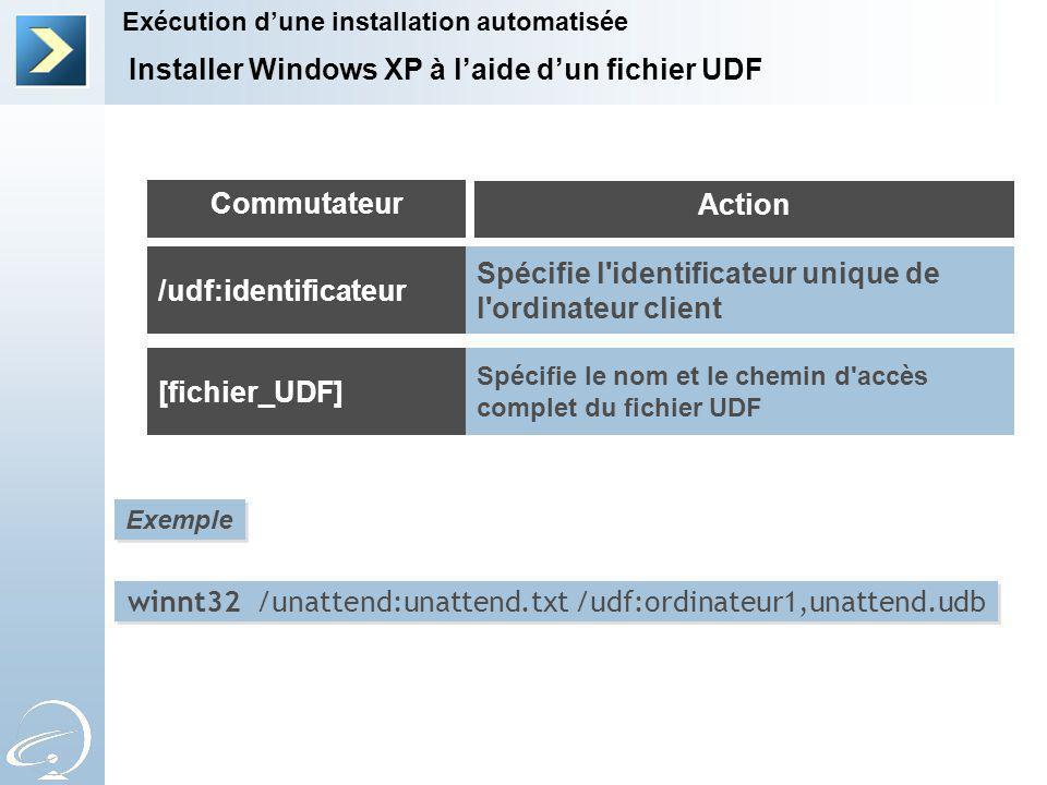 Installer Windows XP à laide dun fichier UDF Exécution dune installation automatisée Commutateur Action /udf:identificateur [fichier_UDF] Spécifie l identificateur unique de l ordinateur client Spécifie le nom et le chemin d accès complet du fichier UDF Exemple winnt32 /unattend:unattend.txt /udf:ordinateur1,unattend.udb