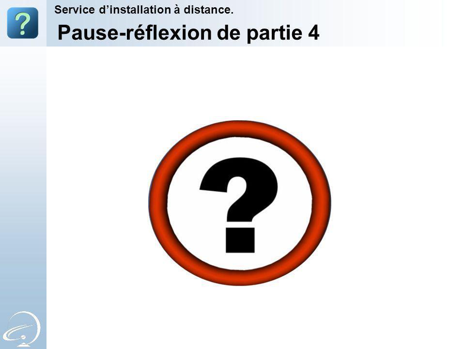 Pause-réflexion de partie 4 Service dinstallation à distance.