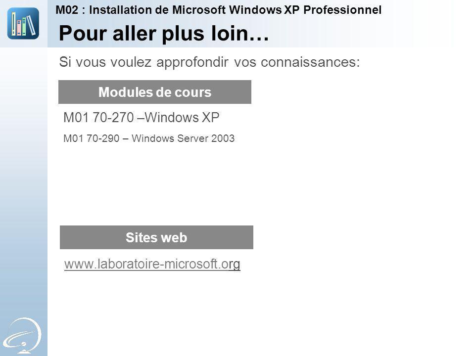 Pour aller plus loin… Modules de cours Sites web M01 70-270 –Windows XP M01 70-290 – Windows Server 2003 Si vous voulez approfondir vos connaissances: M02 : Installation de Microsoft Windows XP Professionnel www.laboratoire-microsoft.owww.laboratoire-microsoft.org