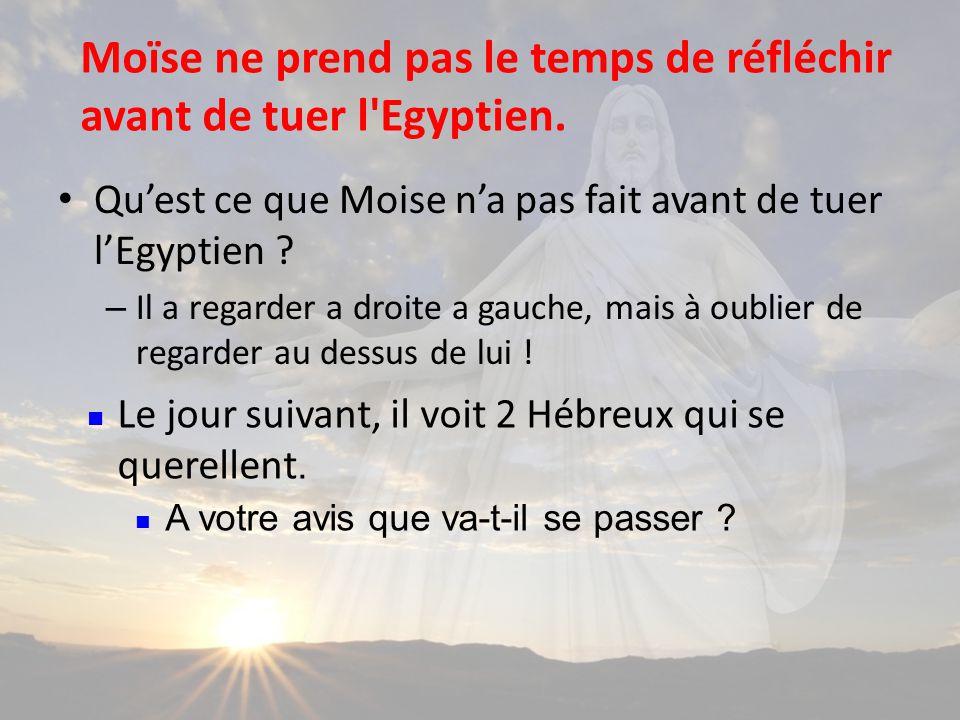 Quest ce que Moise na pas fait avant de tuer lEgyptien .