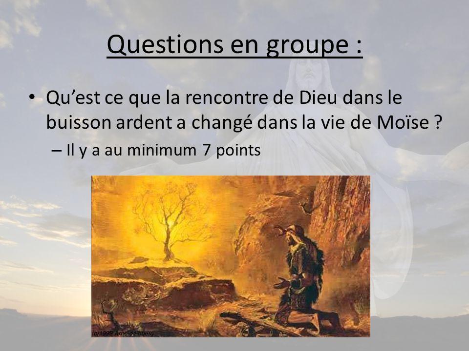 Questions en groupe : Quest ce que la rencontre de Dieu dans le buisson ardent a changé dans la vie de Moïse .