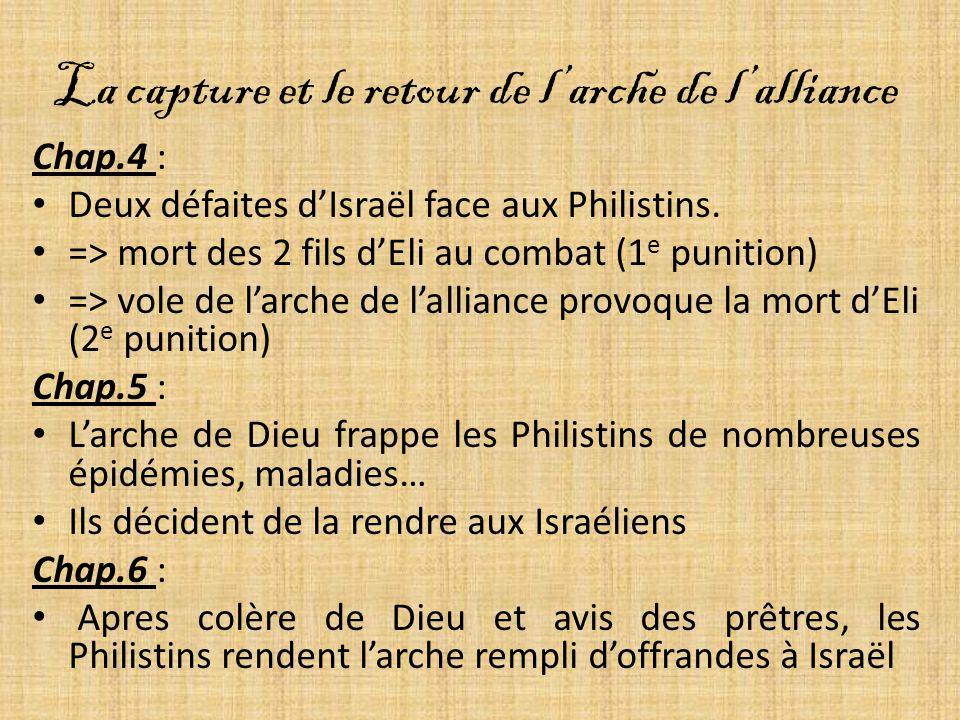 La capture et le retour de larche de lalliance Chap.4 : Deux défaites dIsraël face aux Philistins.