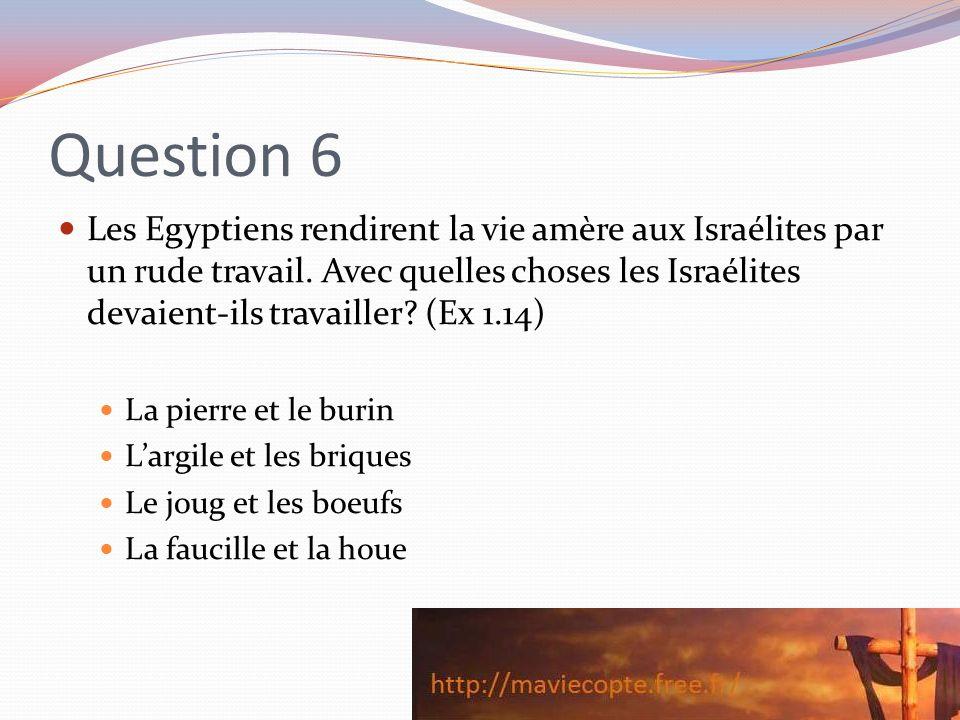 Question 6 Les Egyptiens rendirent la vie amère aux Israélites par un rude travail. Avec quelles choses les Israélites devaient-ils travailler? (Ex 1.