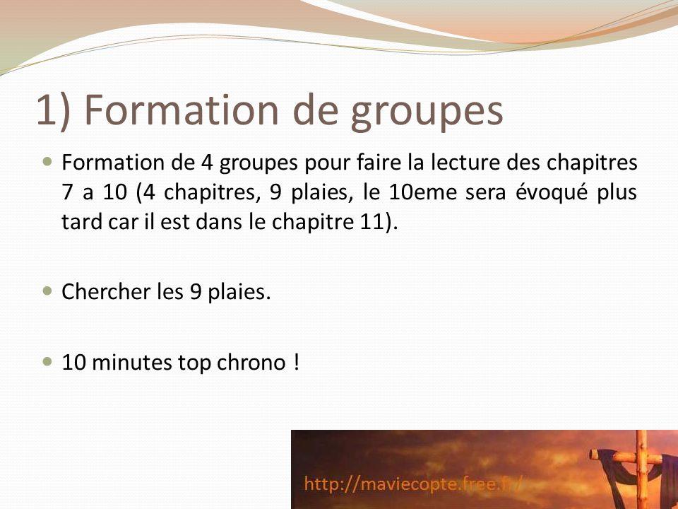 1) Formation de groupes Formation de 4 groupes pour faire la lecture des chapitres 7 a 10 (4 chapitres, 9 plaies, le 10eme sera évoqué plus tard car i