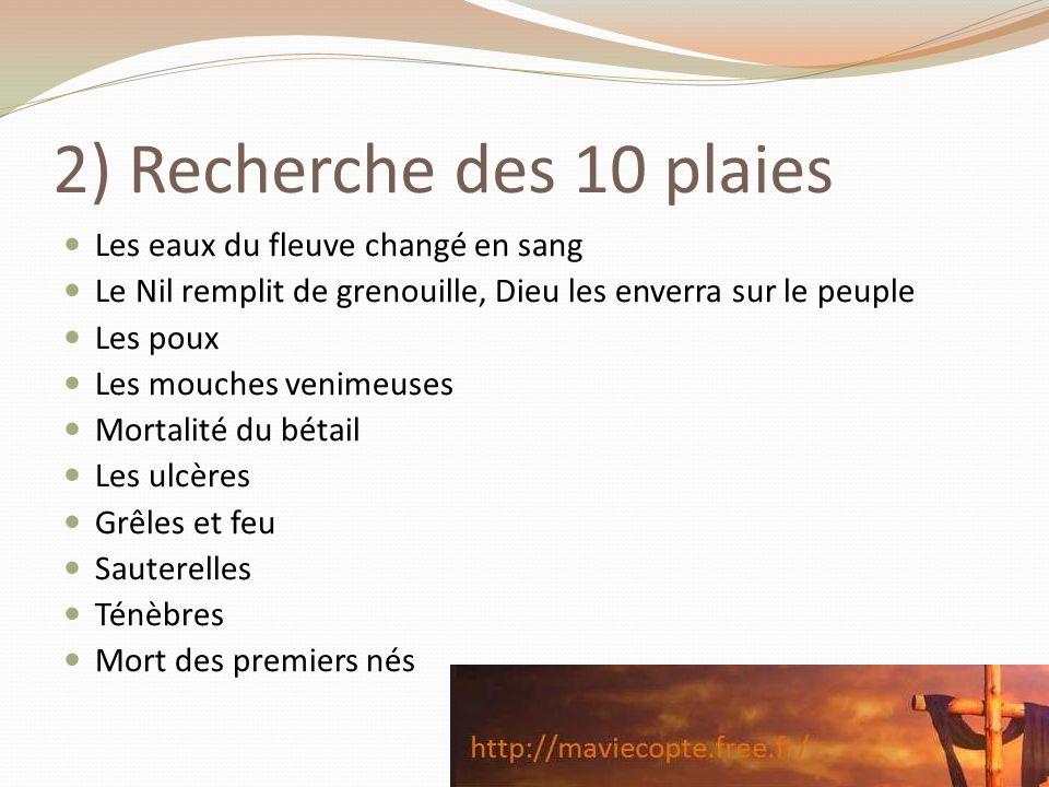 2) Recherche des 10 plaies Les eaux du fleuve changé en sang Le Nil remplit de grenouille, Dieu les enverra sur le peuple Les poux Les mouches venimeu