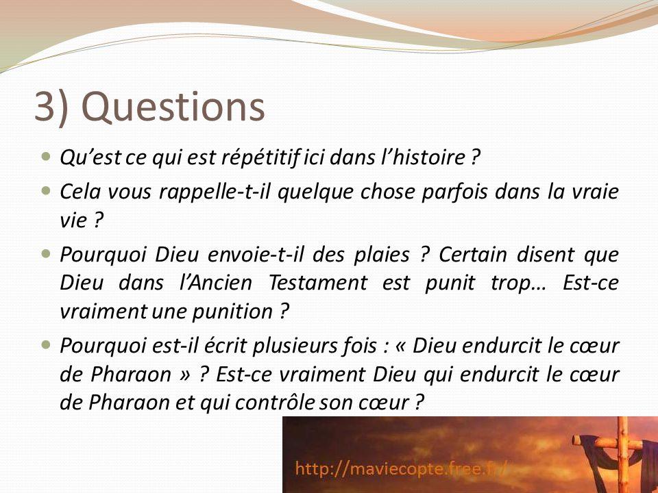 3) Questions Quest ce qui est répétitif ici dans lhistoire ? Cela vous rappelle-t-il quelque chose parfois dans la vraie vie ? Pourquoi Dieu envoie-t-