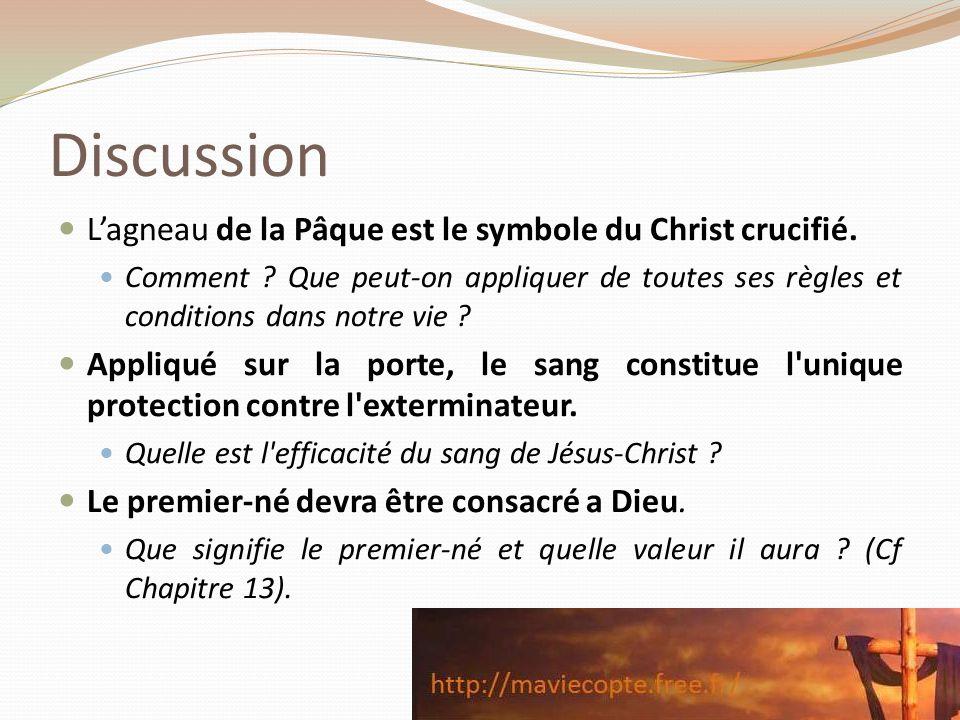 Discussion Lagneau de la Pâque est le symbole du Christ crucifié. Comment ? Que peut-on appliquer de toutes ses règles et conditions dans notre vie ?