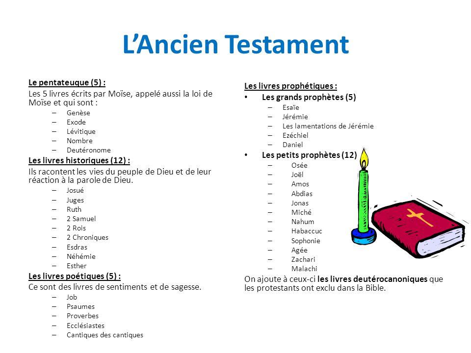 LAncien Testament Le pentateuque (5) : Les 5 livres écrits par Moïse, appelé aussi la loi de Moïse et qui sont : – Genèse – Exode – Lévitique – Nombre