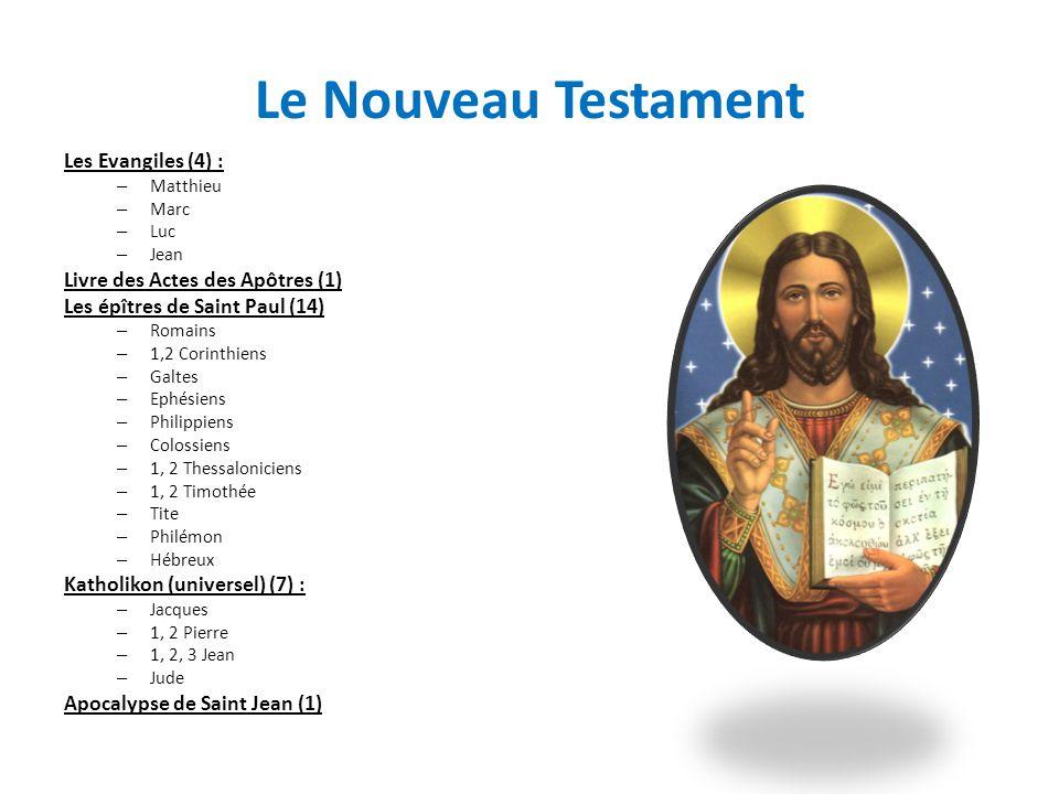 Le Nouveau Testament Les Evangiles (4) : – Matthieu – Marc – Luc – Jean Livre des Actes des Apôtres (1) Les épîtres de Saint Paul (14) – Romains – 1,2