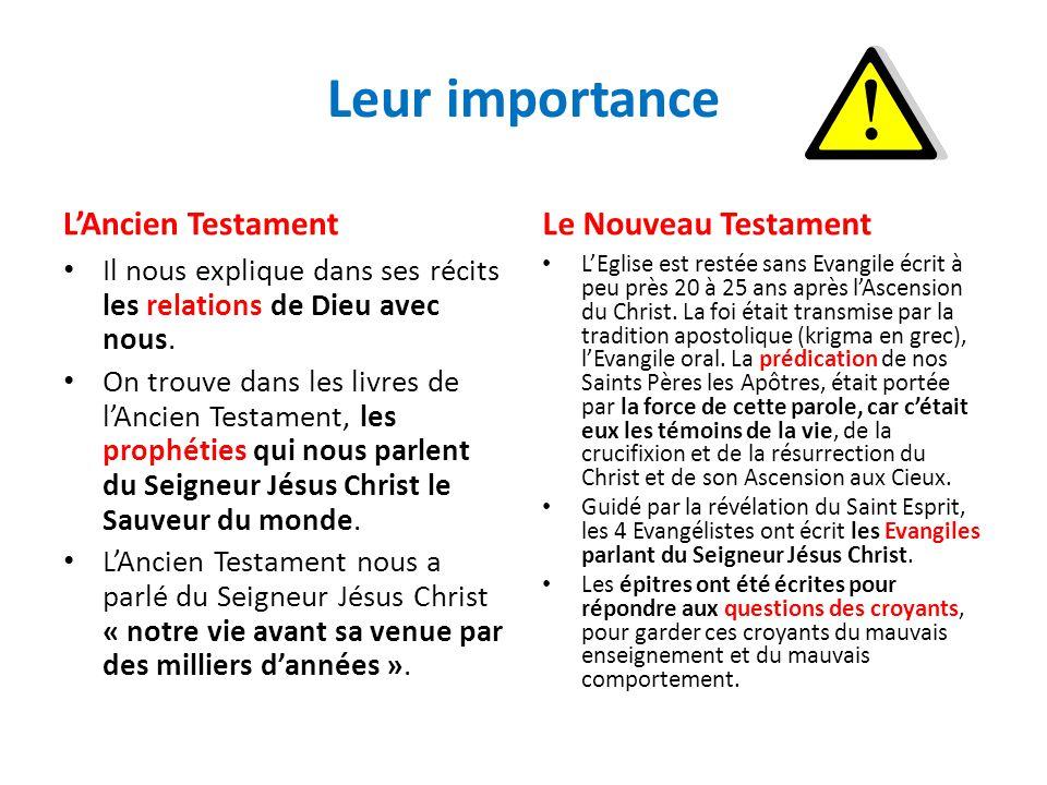 Leur importance LAncien Testament Il nous explique dans ses récits les relations de Dieu avec nous. On trouve dans les livres de lAncien Testament, le