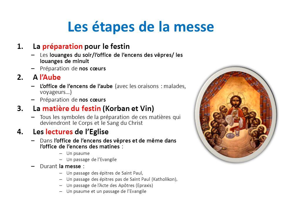 Les étapes de la messe 1.La préparation pour le festin – Les louanges du soir/loffice de lencens des vêpres/ les louanges de minuit – Préparation de n