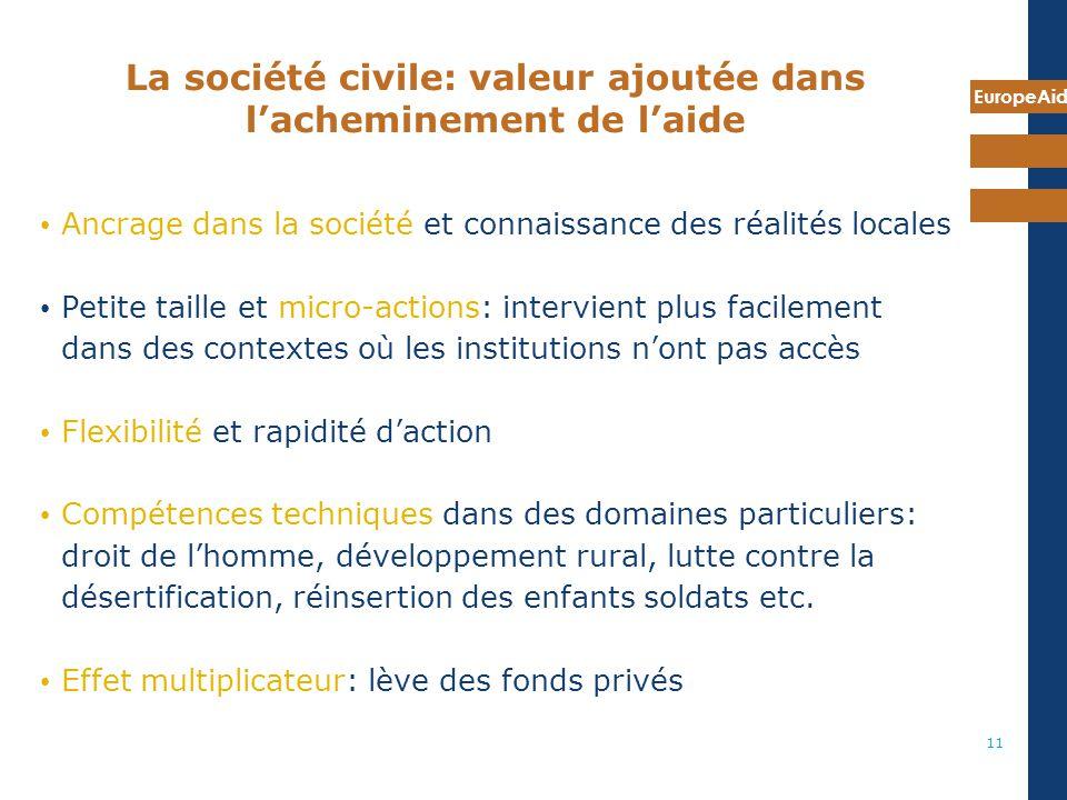 EuropeAid 11 La société civile: valeur ajoutée dans lacheminement de laide Ancrage dans la société et connaissance des réalités locales Petite taille
