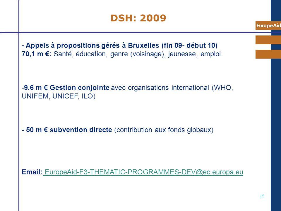 EuropeAid 15 DSH: 2009 - Appels à propositions gérés à Bruxelles (fin 09- début 10) 70,1 m : Santé, éducation, genre (voisinage), jeunesse, emploi. -9