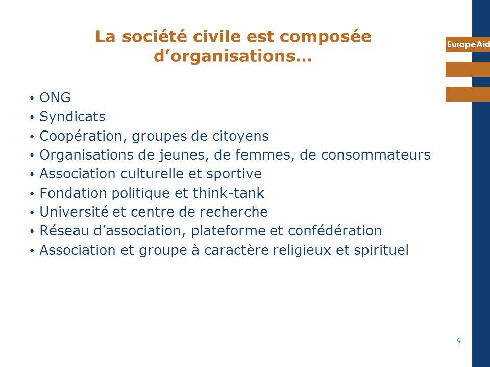 EuropeAid 9 La société civile est composée dorganisations… ONG Syndicats Coopération, groupes de citoyens Organisations de jeunes, de femmes, de conso