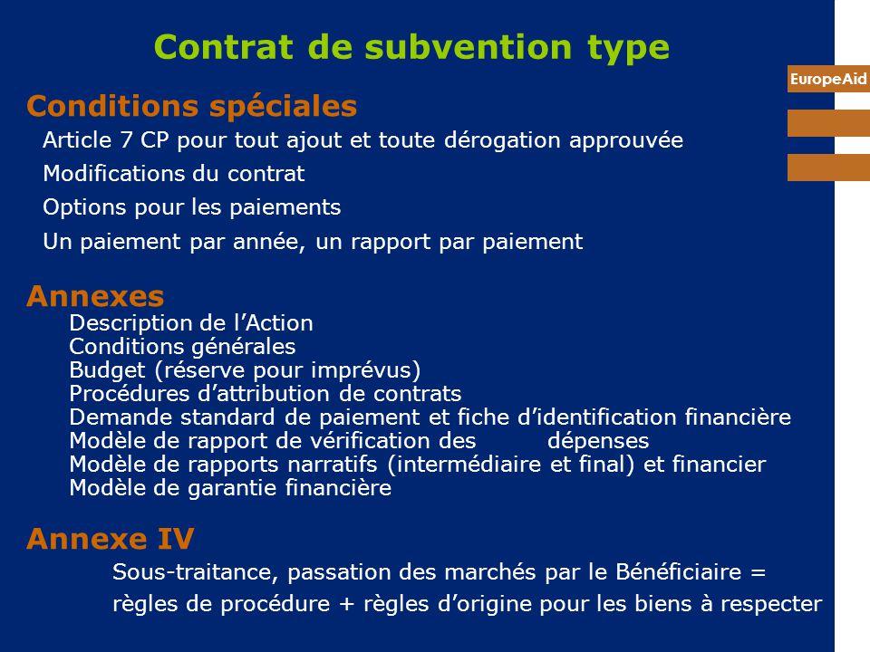 EuropeAid Contrat de subvention type Conditions spéciales Article 7 CP pour tout ajout et toute dérogation approuvée Modifications du contrat Options