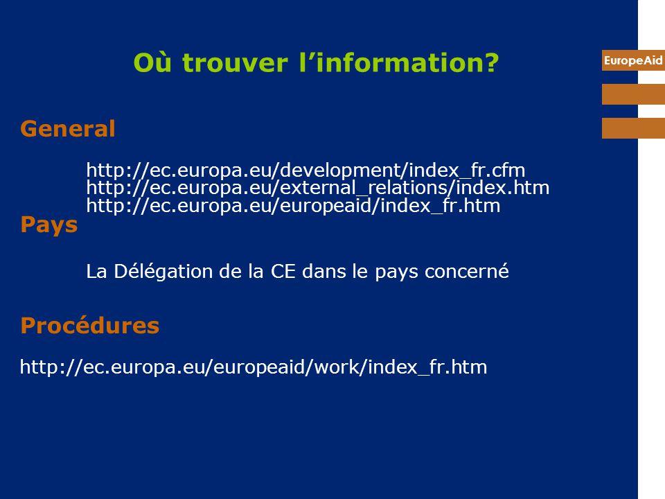 EuropeAid Où trouver linformation? General http://ec.europa.eu/development/index_fr.cfm http://ec.europa.eu/external_relations/index.htm http://ec.eur
