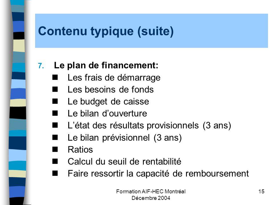 Formation AIF-HEC Montréal Décembre 2004 15 Contenu typique (suite) 7. Le plan de financement: Les frais de démarrage Les besoins de fonds Le budget d