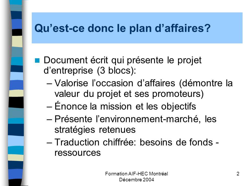 Formation AIF-HEC Montréal Décembre 2004 2 Quest-ce donc le plan daffaires? Document écrit qui présente le projet dentreprise (3 blocs): –Valorise loc