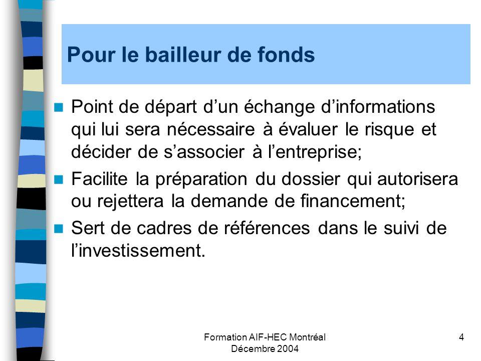 Formation AIF-HEC Montréal Décembre 2004 4 Pour le bailleur de fonds Point de départ dun échange dinformations qui lui sera nécessaire à évaluer le ri