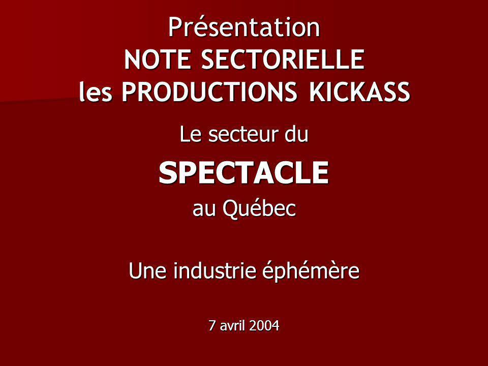 Présentation NOTE SECTORIELLE les PRODUCTIONS KICKASS Le secteur du SPECTACLE au Québec Une industrie éphémère 7 avril 2004