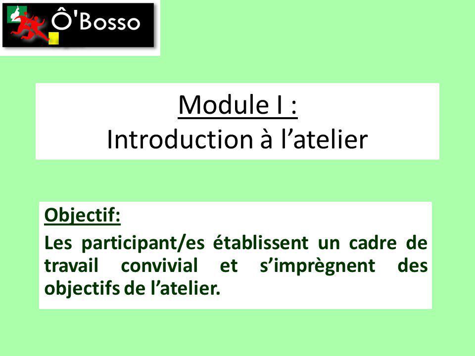 Module I : Introduction à latelier Objectif: Les participant/es établissent un cadre de travail convivial et simprègnent des objectifs de latelier.