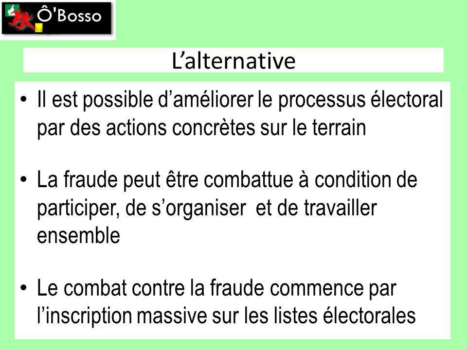 Lalternative Il est possible daméliorer le processus électoral par des actions concrètes sur le terrain La fraude peut être combattue à condition de participer, de sorganiser et de travailler ensemble Le combat contre la fraude commence par linscription massive sur les listes électorales