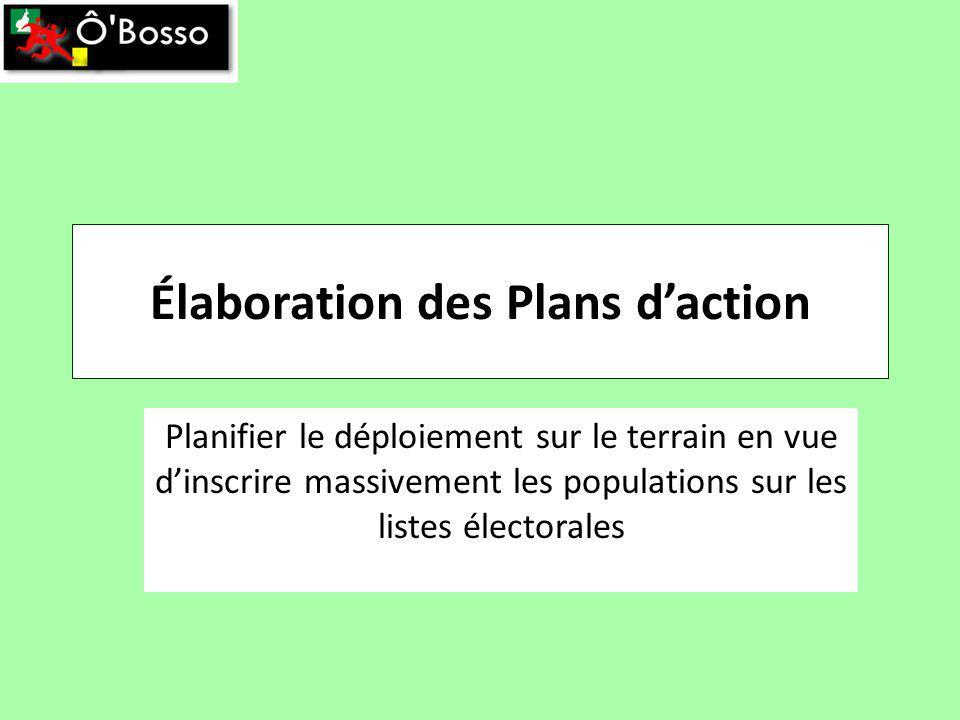 Élaboration des Plans daction Planifier le déploiement sur le terrain en vue dinscrire massivement les populations sur les listes électorales