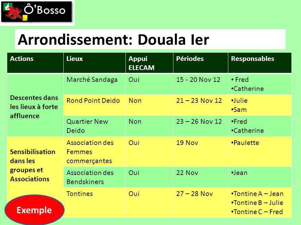 Arrondissement: Douala Ier ActionsLieuxAppui ELECAM PériodesResponsables Descentes dans les lieux à forte affluence Marché SandagaOui15 - 20 Nov 12 Fr