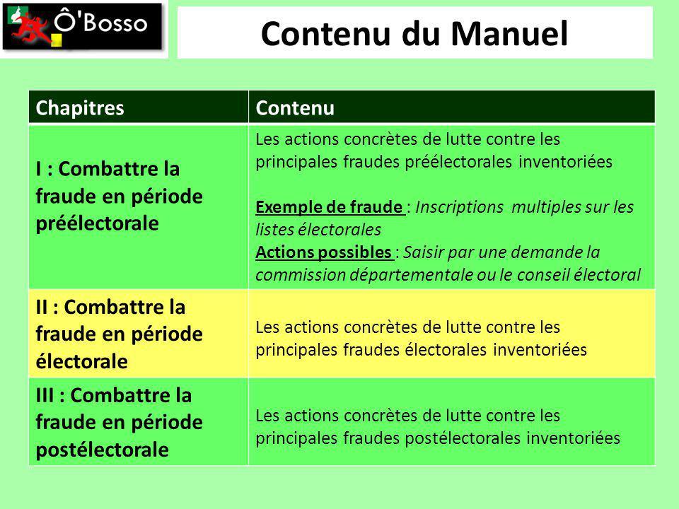 Contenu du Manuel ChapitresContenu I : Combattre la fraude en période préélectorale Les actions concrètes de lutte contre les principales fraudes préé