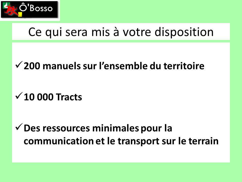 Ce qui sera mis à votre disposition 200 manuels sur lensemble du territoire 10 000 Tracts Des ressources minimales pour la communication et le transport sur le terrain