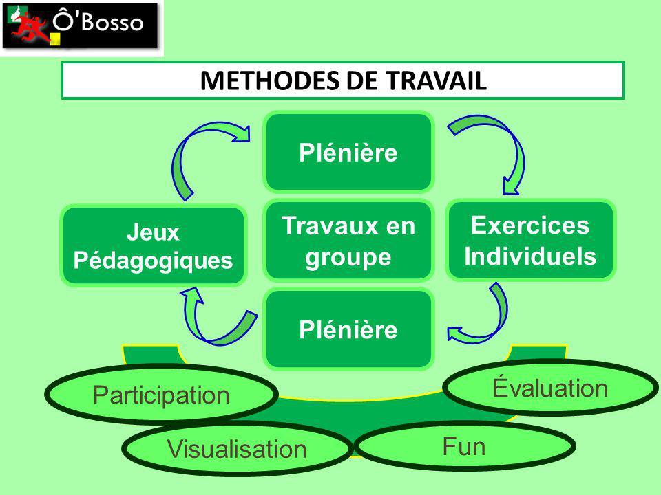 METHODES DE TRAVAIL Plénière Travaux en groupe Plénière Participation Visualisation Fun Évaluation Exercices Individuels Jeux Pédagogiques