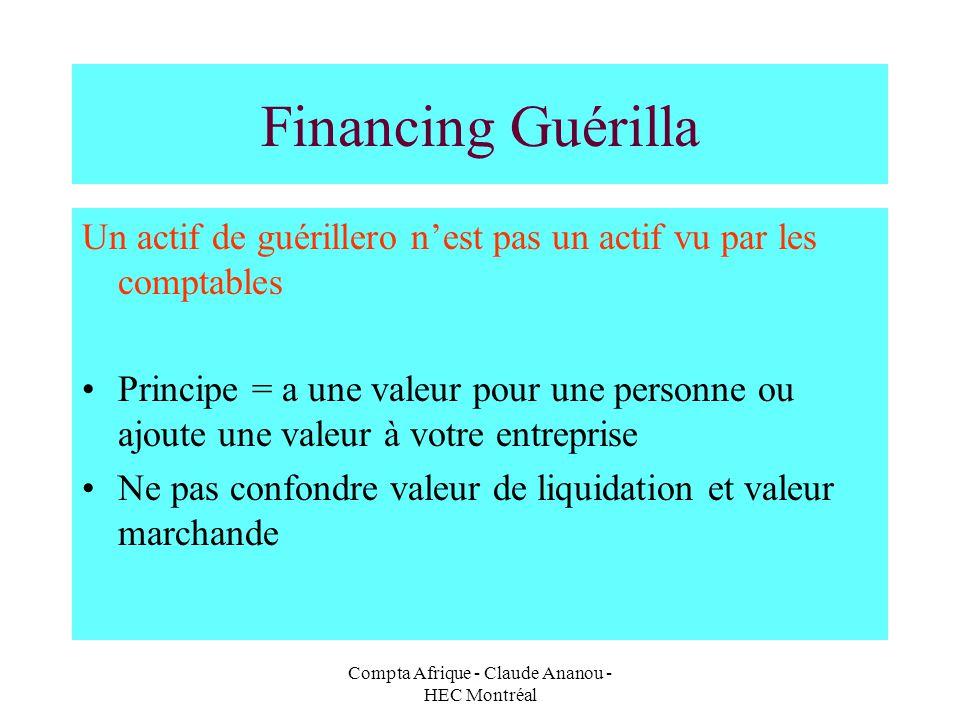 Compta Afrique - Claude Ananou - HEC Montréal Financing Guérilla Un actif de guérillero nest pas un actif vu par les comptables Principe = a une valeu