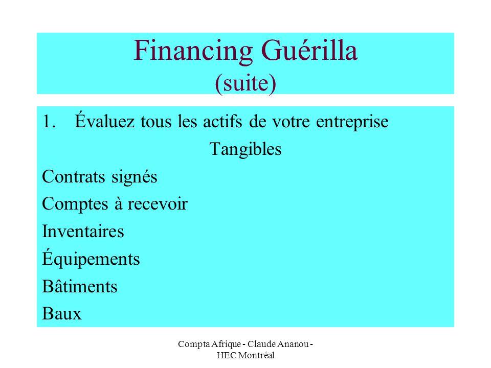 Compta Afrique - Claude Ananou - HEC Montréal Financing Guérilla (suite) 1.Évaluez tous les actifs de votre entreprise Tangibles Contrats signés Compt