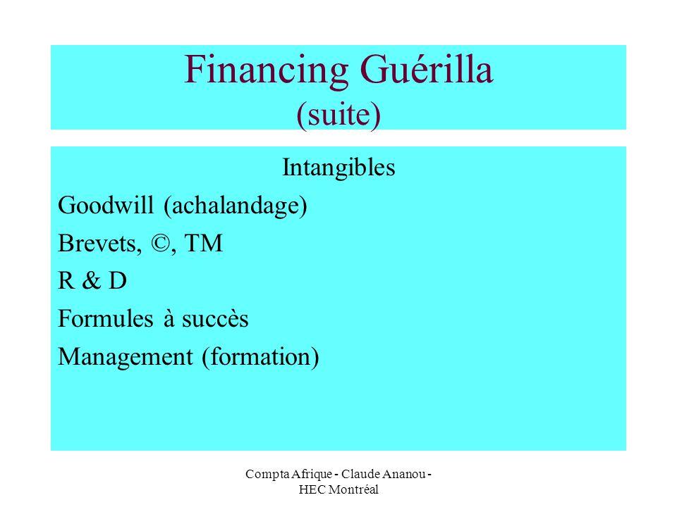 Compta Afrique - Claude Ananou - HEC Montréal Financing Guérilla (suite) Intangibles Goodwill (achalandage) Brevets, ©, TM R & D Formules à succès Man