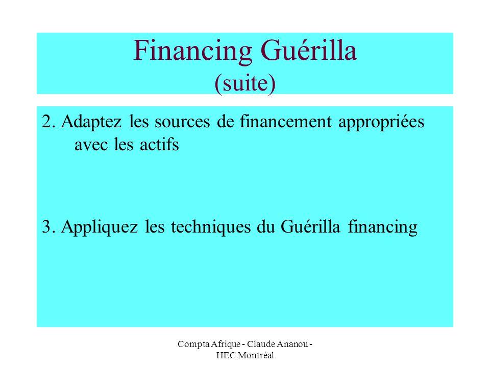 Compta Afrique - Claude Ananou - HEC Montréal Financing Guérilla (suite) 2. Adaptez les sources de financement appropriées avec les actifs 3. Applique