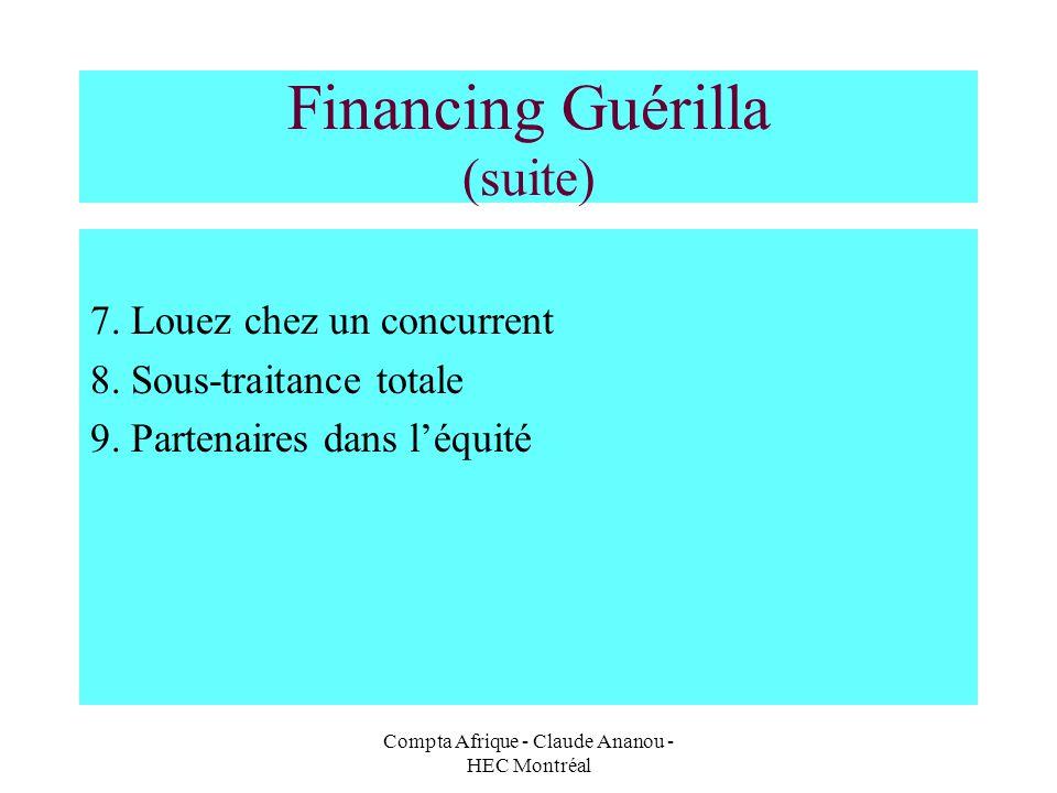 Compta Afrique - Claude Ananou - HEC Montréal Financing Guérilla (suite) 7. Louez chez un concurrent 8. Sous-traitance totale 9. Partenaires dans léqu