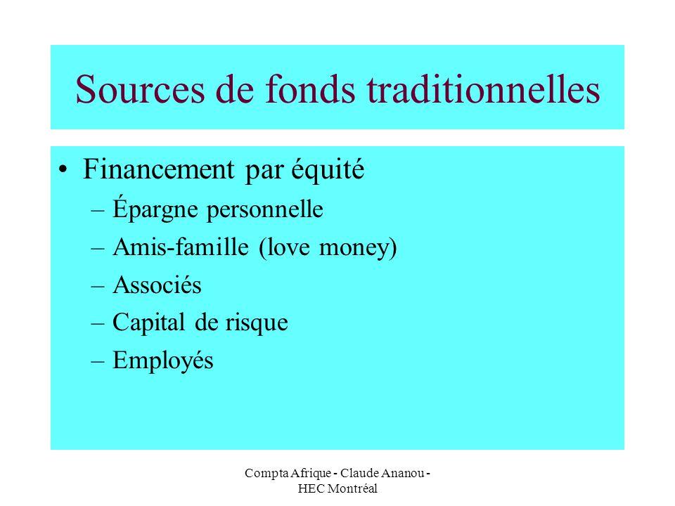 Compta Afrique - Claude Ananou - HEC Montréal Sources de fonds traditionnelles Financement par équité –Épargne personnelle –Amis-famille (love money)