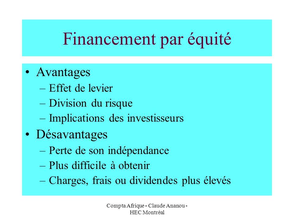 Compta Afrique - Claude Ananou - HEC Montréal Financement par équité Avantages –Effet de levier –Division du risque –Implications des investisseurs Dé