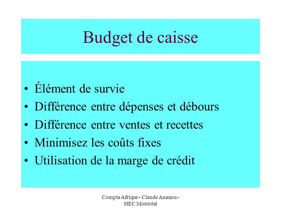 Compta Afrique - Claude Ananou - HEC Montréal Budget de caisse Élément de survie Différence entre dépenses et débours Différence entre ventes et recet