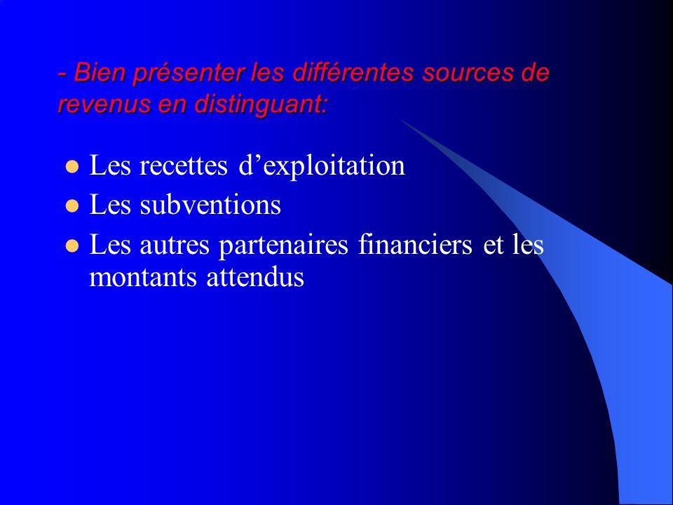 - Bien présenter les différentes sources de revenus en distinguant: Les recettes dexploitation Les subventions Les autres partenaires financiers et les montants attendus