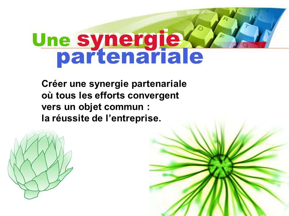 Une synergie Une synergie partenariale Créer une synergie partenariale où tous les efforts convergent vers un objet commun : la réussite de lentreprise.