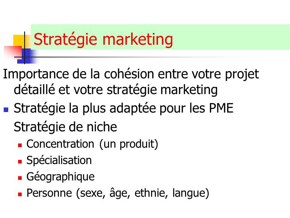 Claude Ananou © Stratégie marketing Importance de la cohésion entre votre projet détaillé et votre stratégie marketing Stratégie la plus adaptée pour les PME Stratégie de niche Concentration (un produit) Spécialisation Géographique Personne (sexe, âge, ethnie, langue)