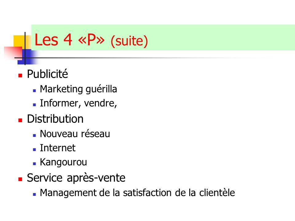 Claude Ananou © Les 4 «P» (suite) Publicité Marketing guérilla Informer, vendre, Distribution Nouveau réseau Internet Kangourou Service après-vente Management de la satisfaction de la clientèle